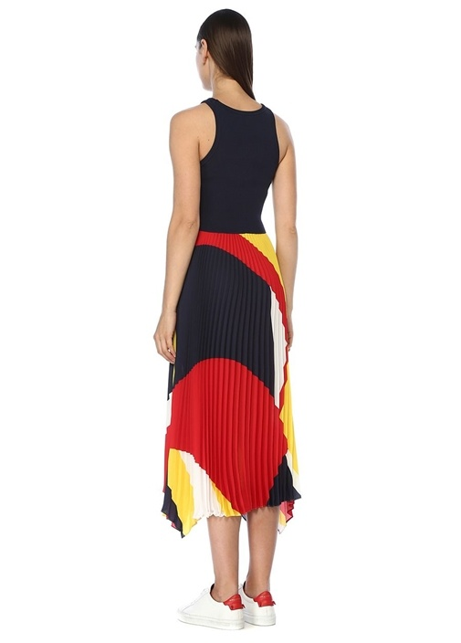 Lacivert Asimetrik Pileli Kolsuz Midi Elbise