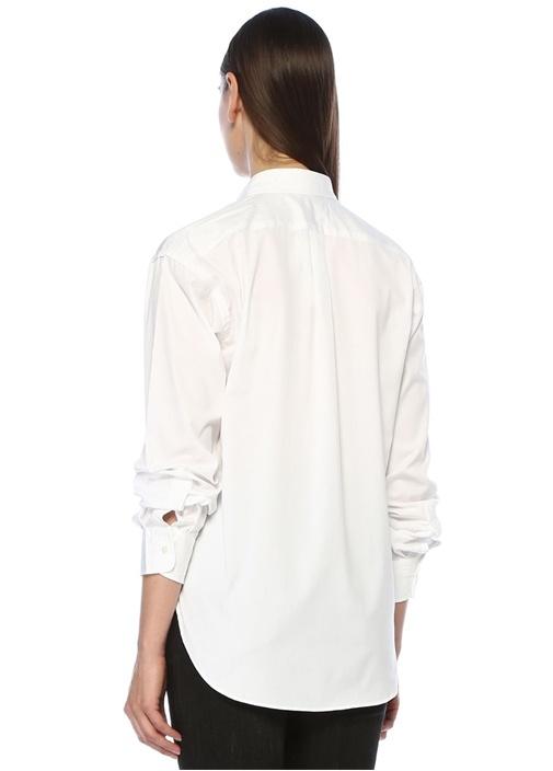 Boyfriend Fit Beyaz Logo Nakışlı Gömlek