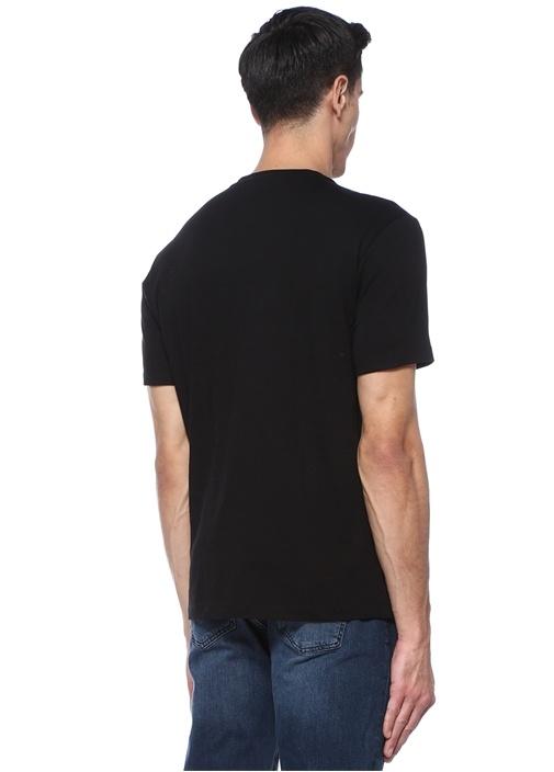 Siyah Bisiklet Yaka Logo Nakışlı T-shirt