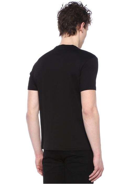 Siyah Bisiklet Yaka Logo Nakışlı Basic T-shirt