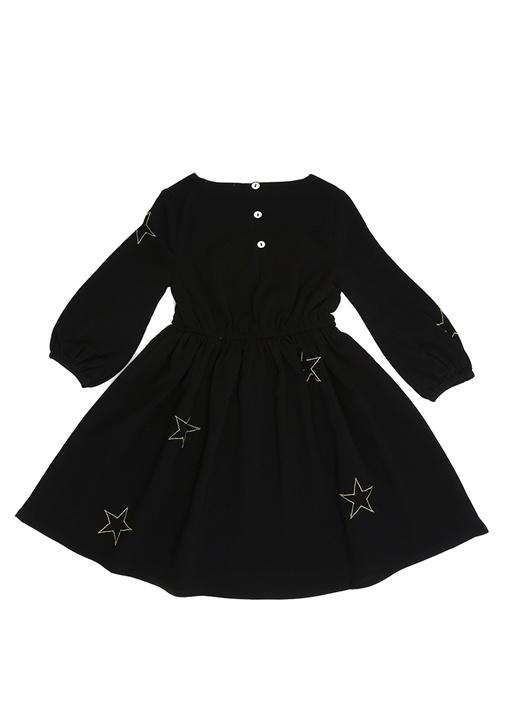 Siyah Yıldız Nakışlı Kız Çocuk Elbise