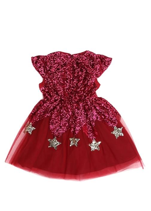 Kırmızı Pulpayetli İşlemeli Kız Çocuk Elbise