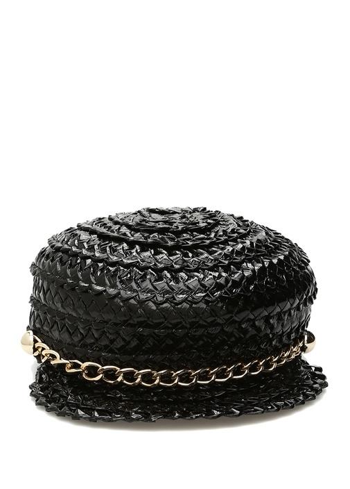 Sabrina Siyah Zincir Detaylı Kadın Kasket Şapka