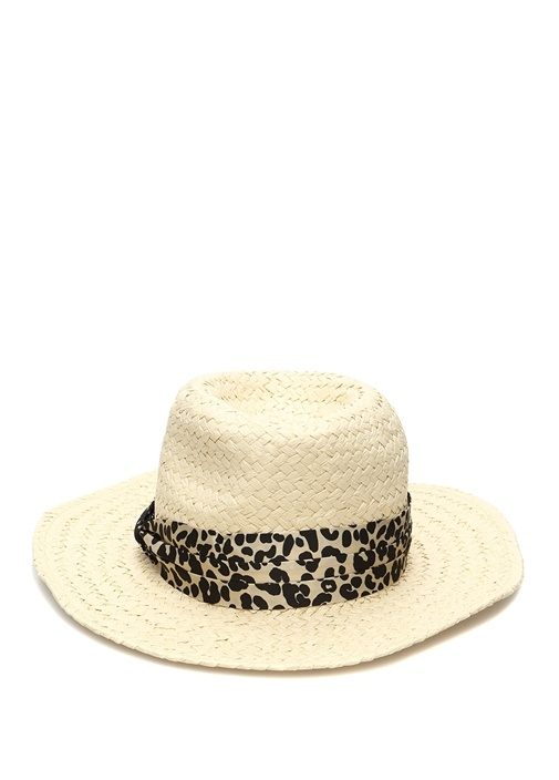 Billie Leopar Desen Bantlı Kadın Hasır Şapka