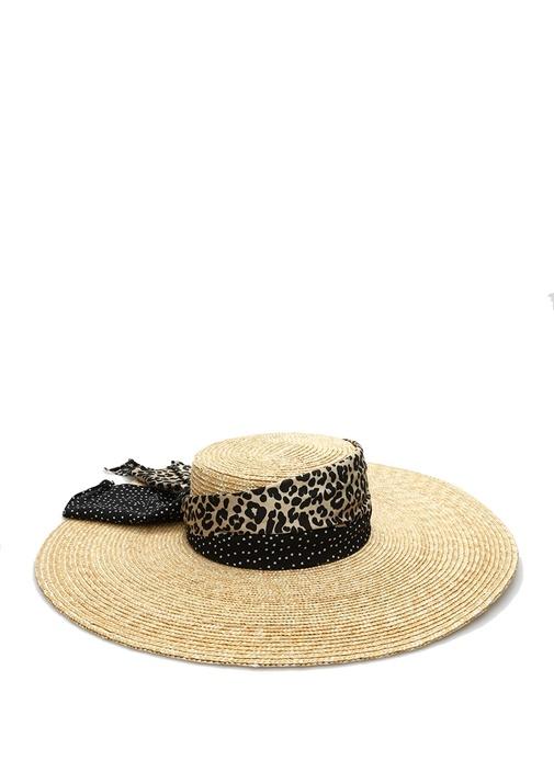 Lexie Leopar Puantiye Bantlı Kadın Hasır Şapka