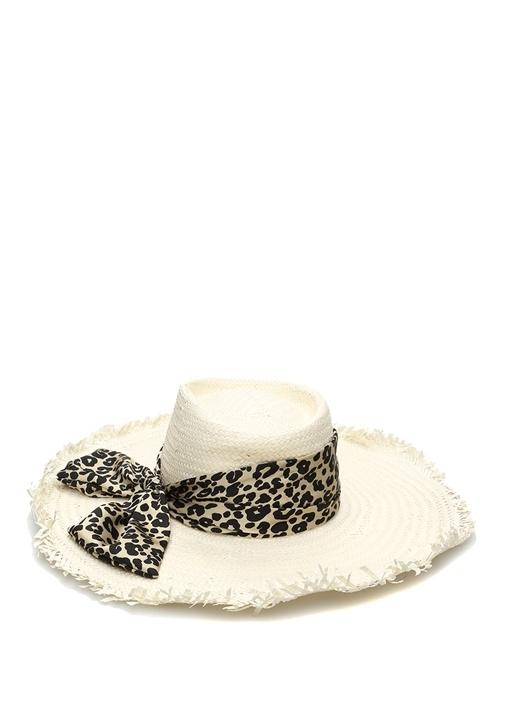 Carson Ekru Leopar Desen Bantlı Kadın Hasır Şapka