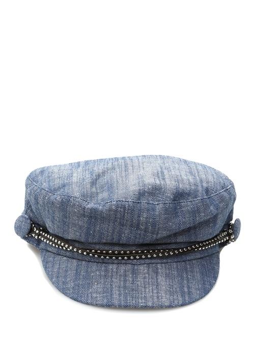 Jessa Troklu Bantlı Kadın Denim Kasket Şapka