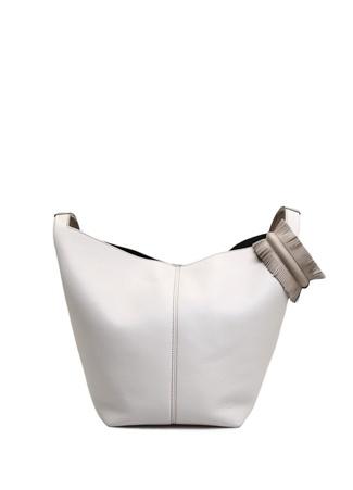 ELENA GHISELLINI Vanity Bej Beyaz Logolu Kadın Kanvas Çanta