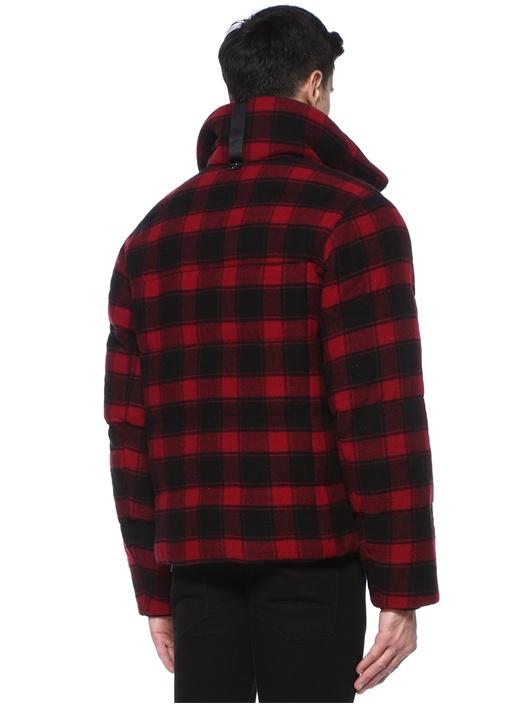 Crosby Siyah Kırmızı Dik Yaka Ekoseli Yün Mont