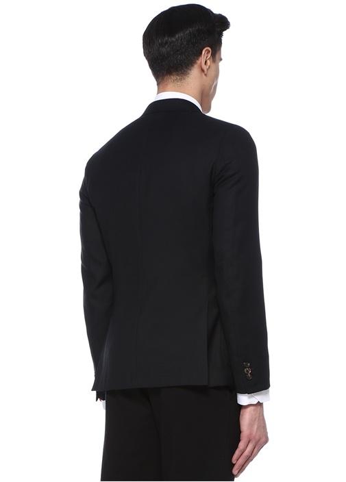 Tailored Fit Siyah Dokulu Yün Ceket