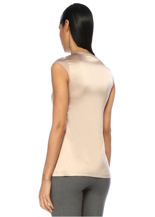 Somon V Yaka Sim Detaylı İpek Bluz