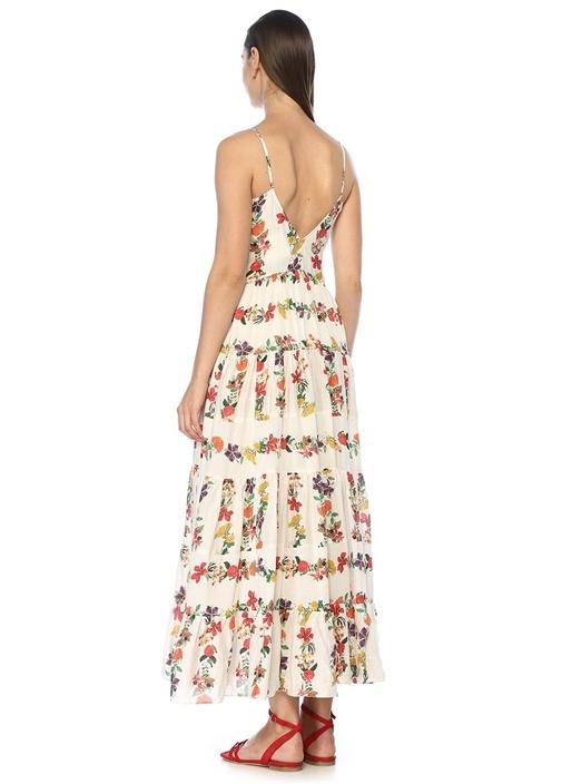 Marieta Beyaz V Yaka Çiçekli Midi Plaj Elbisesi