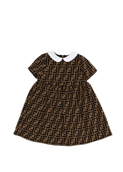Kahverengi Logo Baskılı Kız Bebek Elbise
