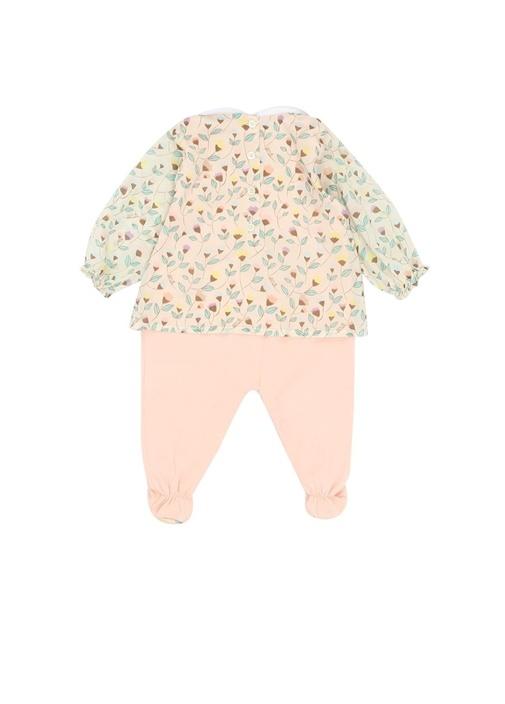 Pembe Beyaz Çiçek Baskılı Kız Bebek Tulum Seti