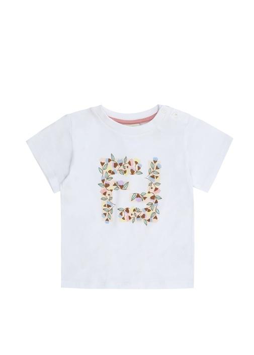 Beyaz Bisiklet Yaka Çiçekli Kız Bebek T-shirt