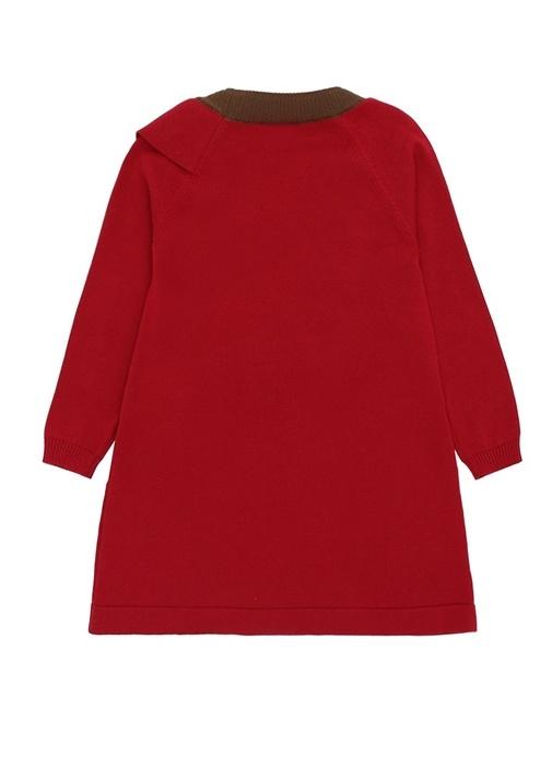 Kırmızı Bisiklet Yaka Pileli Kız Çocuk Elbise
