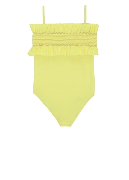 Neon Sarı Logo Nakışlı Fırfırlı Kız Çocuk Mayo