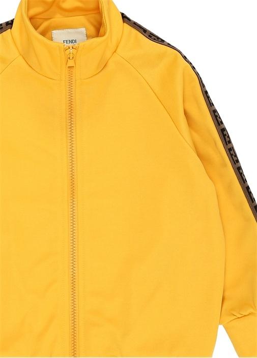 Sarı Dik Yaka Logo Şeritli Unisex ÇocukSweatshirt