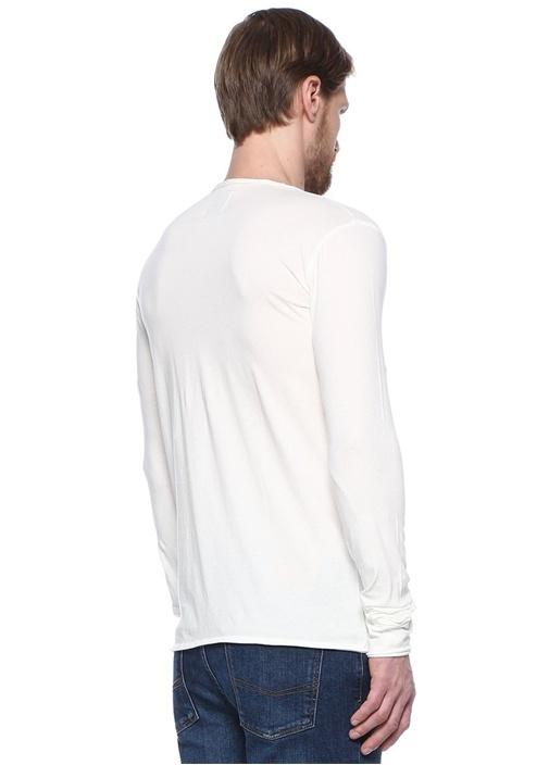 Monastır Ekru V Yaka Düğme Detaylı T-shirt