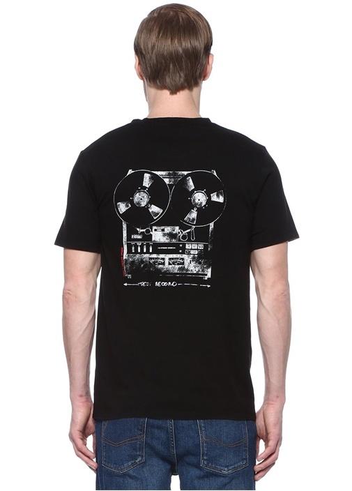 Ted Record Siyah Bisiklet Yaka Baskılı T-shirt
