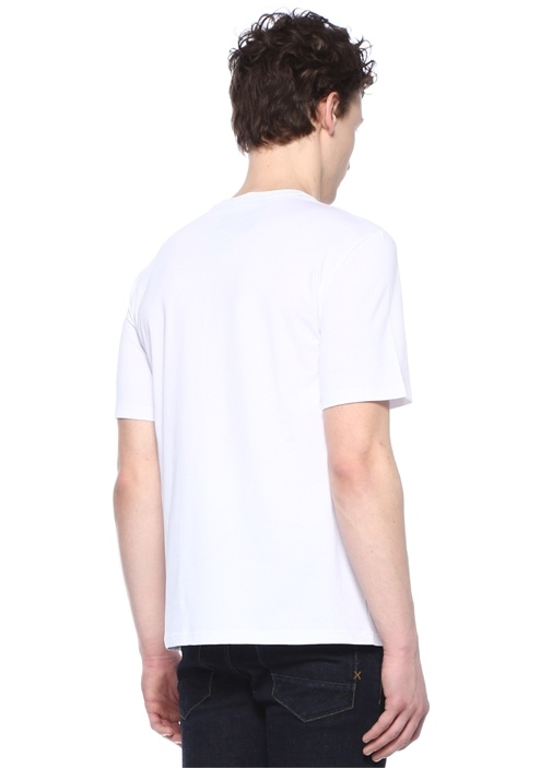 Beyaz Mavi Logo Baskılı T-shirt