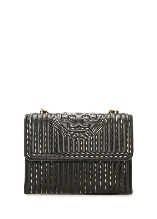Fleming Mini Stud Siyah Logolu Kadın Deri Çanta