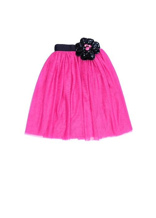 Fuşya Yakası Çiçek Detaylı Kız Çocuk İpek Elbise