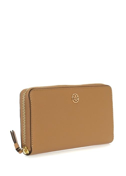 Kahverengi Gold Logolu Kadın Deri Cüzdan