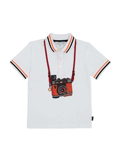 Beyaz Kamera Baskılı Polo Yaka Erkek Çocuk T-shirt