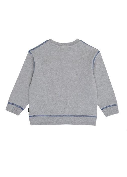 Gri Logo Baskılı Erkek Çocuk Sweatshirt