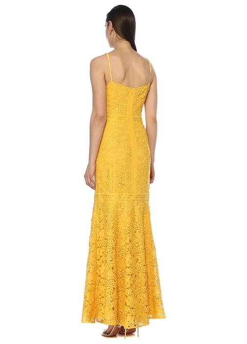 Utopia Sarı İnce Askılı Maksi Dantel Elbise
