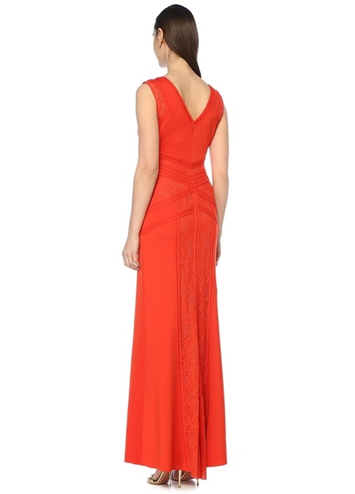 Fleming Kırmızı V Yaka Dantel Detaylı Maksi Elbise