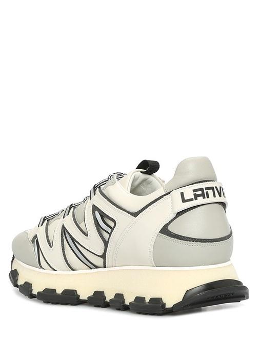 Gri Beyaz Taban Detaylı Erkek Deri Sneaker