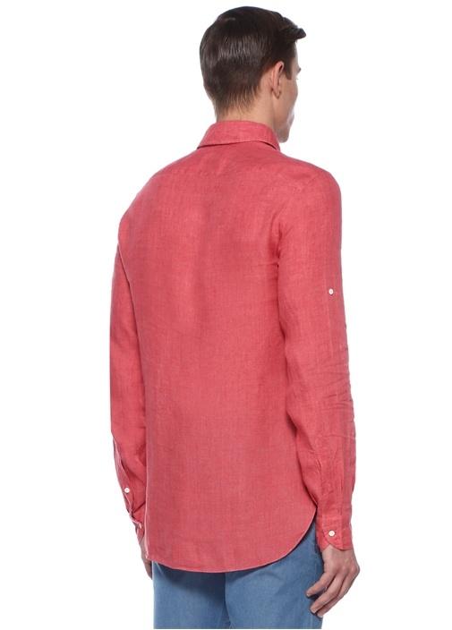 Kırmızı İngiliz Yaka Keten Gömlek