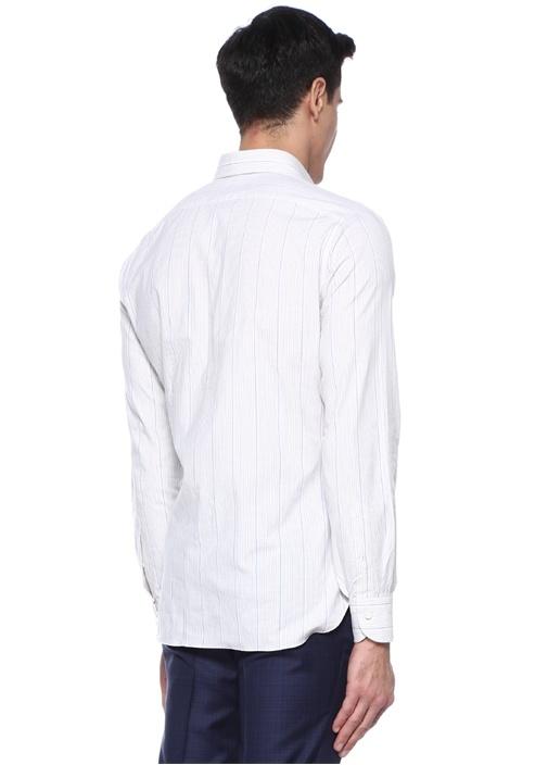 Beyaz Polo Yaka Çizgili Gömlek