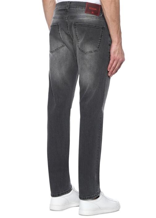 Slim Fit Gri Aksesuar Detaylı Jean Pantolon