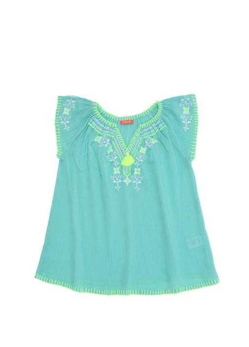 Mavi Nakış Detaylı Kız Çocuk Plaj Elbisesi