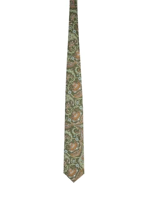 Yeşil Etnik Desenli Kravat