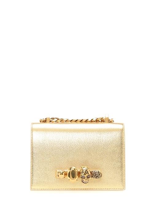 Jewelled Small Gold Kuru Kafalı Kadın Deri Çanta