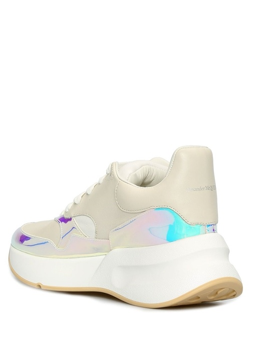 Oversize Hologram Detaylı Kadın Deri Sneaker