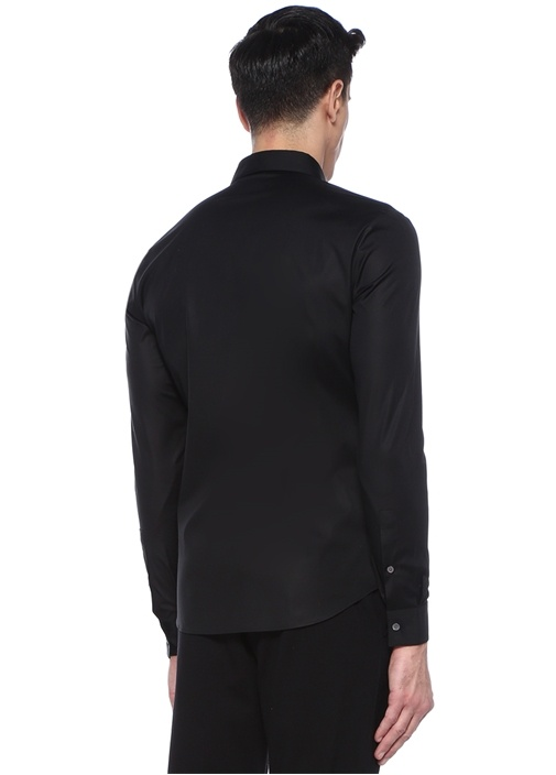 Siyah İngiliz Yaka Logo Nakışlı Gömlek