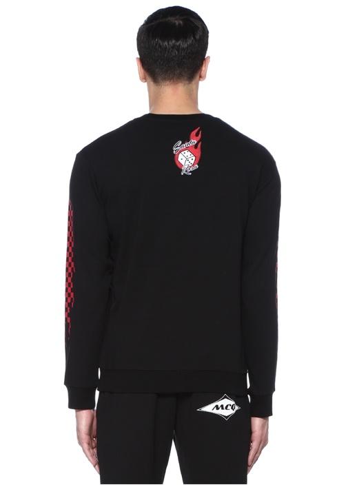 Siyah Bisiklet Yaka Logo Patchli Sweatshirt