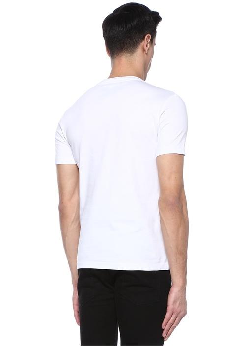 Beyaz Bisiklet Yaka Kabartmalı Logolu T-shirt