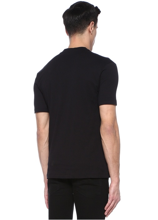 Siyah Beyaz Bisiklet Yaka Baskılı BasicT-shirt
