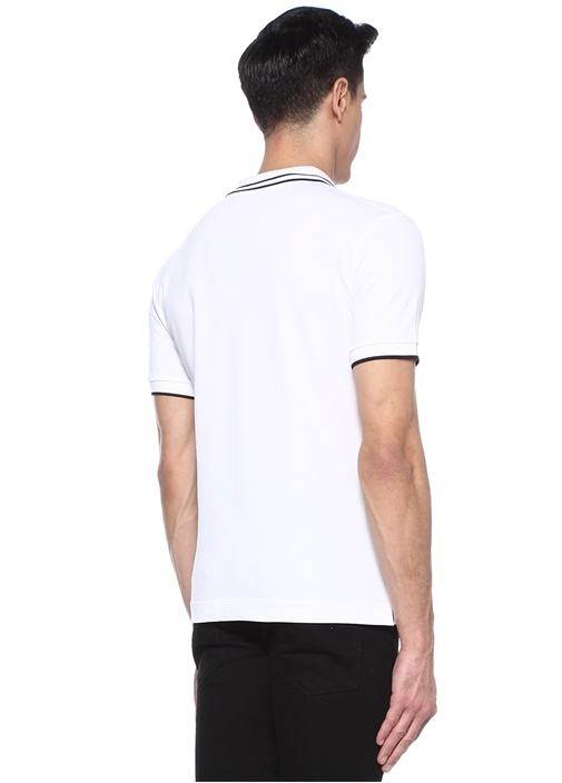 Beyaz Polo Yaka Şerit Detaylı Logolu T-shirt