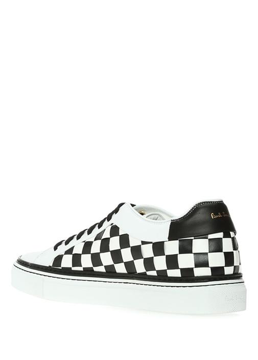 Siyah Beyaz Damalı Erkek Deri Sneaker