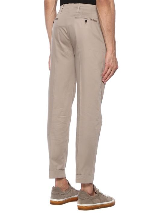 Bej Normal Bel Çift Pileli Pantolon