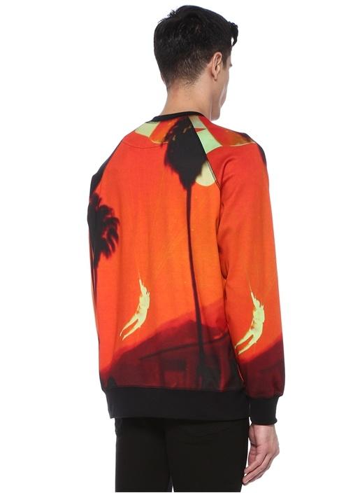 Turuncu Bisiklet Yaka Desenli Sweatshirt