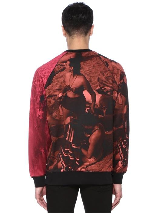 Kırmızı Siyah Batik Desenli Sweatshirt