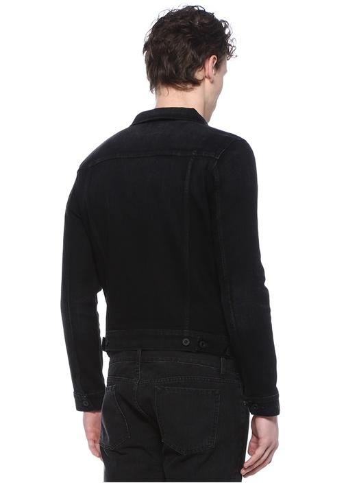 Siyah Polo Yaka Denim Mont